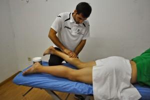 Masaje para recuperarse tras un partiido