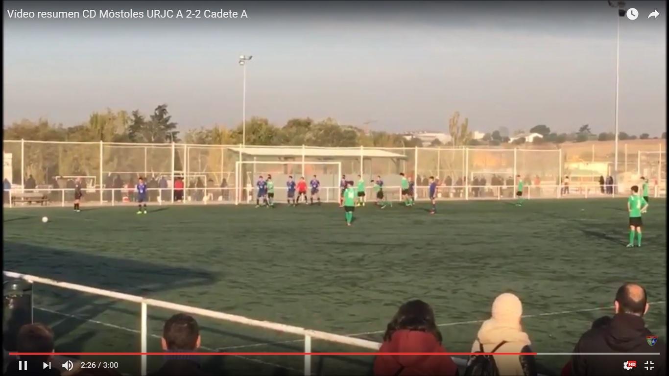 Crónica y vídeo resumen del partido CD Móstoles URJC A 2 – 2 Cadete A