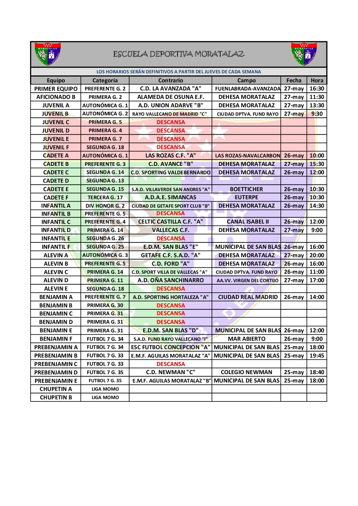 Horario de los partidos del fin de semana del 25, 26 y 27 de mayo de 2018