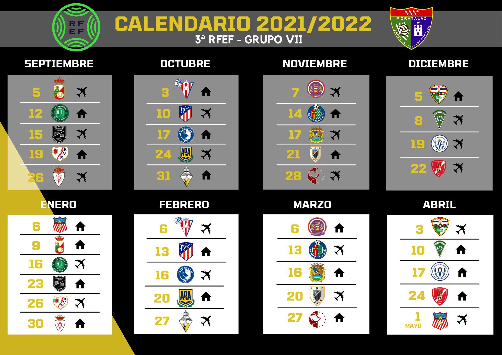 Calendario del Primer Equipo de la temporada 2021/22