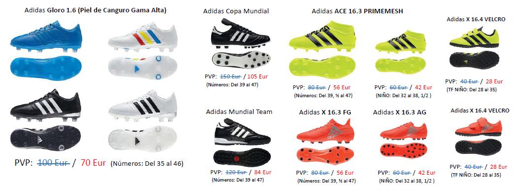 Oferta de botas de fútbol para los jugadores de la Escuela con el 30% de descuento