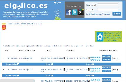 La web elgolico.es anuncia los horarios de partidos de la EDM y ofrece los resultados en directo