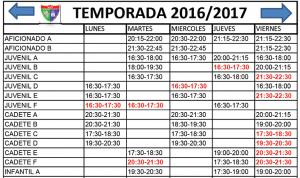 horarios definitivos entrenamientos próxima temporada