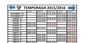 Cuadro de los horarios de entrenamiento para los equipos de laEDM para la temporada 2015-2016