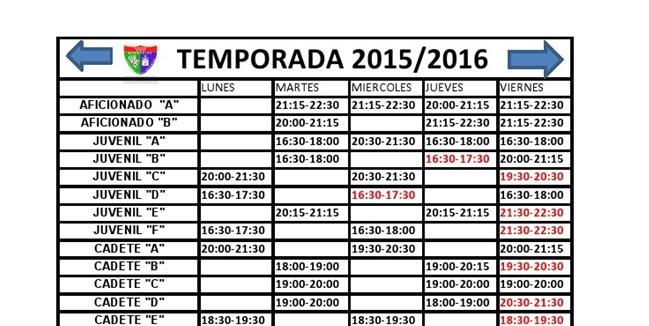 Cuadro con el horario de los entrenamientos de todos los equipos de la EDM para la temporada 2015-2016