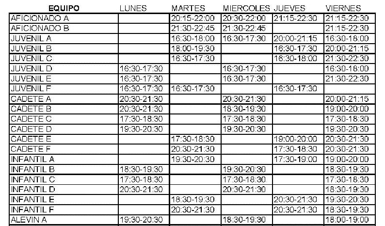 Ya se conoce los horarios provisionales de entrenamientos de los equipos de la EDM para la próxima temporada