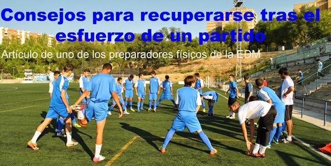 Antonio Caballero orienta a los jugadores sobre qué hacer para recuperar fuerzas tras un encuentro o entrenamiento