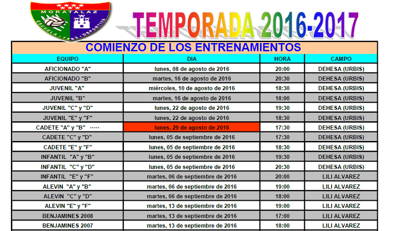 El Primer Equipo vuelve a entrenar el 8 de agosto y los benjamines serán los últimos, el 13 de septiembre