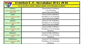 Cuadro de los días y horarios de las pruebas para ingresar en la EDM