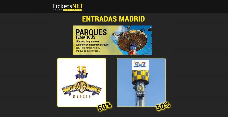 ¡Ve al Parque de Atracciones o al Parque Warner al 50% con TicketsNET!